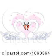 Clipart Mute Swan Pair Resting Their Heads Together Over A Pink Heart Royalty Free Vector Illustration