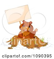 Clipart Cute Groundhog Waving And Holding A Sign Over His Den Royalty Free Vector Illustration