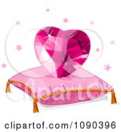 Pink Heart Gem On A Pillow With Stars