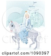 Princess On Her Horse By A Blue Castle In A Winter Landscape
