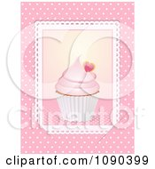 Clipart 3d Valentine Cupcake Picture Placed In Slots Over Pink Royalty Free Vector Illustration