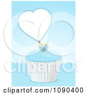 Clipart 3d Valentine Cupcake With Blue Frosting And A Heart Tag Royalty Free Vector Illustration