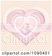 Clipart 3d Valentine Cupcake In The Center Of Doily Hearts Royalty Free Vector Illustration
