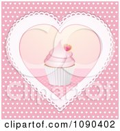 Clipart 3d Valentine Cupcake In The Center Of A Doily Heart Royalty Free Vector Illustration