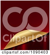Clipart 3d Red And Gold Page Curling To Reveal Silk Royalty Free Vector Illustration