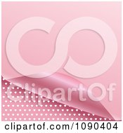 Clipart 3d Pink Page Curling To Reveal A Heart Pattern Royalty Free Vector Illustration