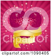 3d Pink Mosaic Disco Heart With A Golden Banner Over Rays And Bursts