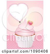 Clipart 3d Valentine Cupcake With Pink Frosting And A Heart Tag Royalty Free Vector Illustration