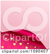Clipart 3d Pink Page Curling To Reveal A Magenta And Gold Heart Pattern Royalty Free Vector Illustration by elaineitalia