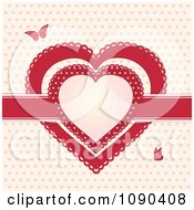 Red Ribbon And Doily Valentine Hearts With Butterflies