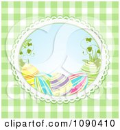 Clipart 3d Easter Eggs And Grass In An Oval Over Green Gingham Royalty Free Vector Illustration