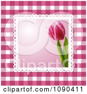 Clipart 3d Pink Tulip Picture Over Magenta Gingham Royalty Free Vector Illustration