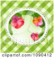 3d Hibiscus Flowers In An Oval Over Green Gingham