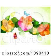 Clipart Background Of Butterflies And Colorful Hibiscus Flowers With Flares Royalty Free Vector Illustration