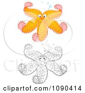 Clipart Orange And Black And White Starfish With Bubbles Royalty Free Illustration