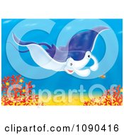 Clipart Blue Mantaa Ray Swimming Over Corals With A Shrimp Royalty Free Illustration by Alex Bannykh