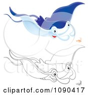 Clipart Colored And Outlined Mantaa Rays Swimming With Shrimp Royalty Free Illustration by Alex Bannykh