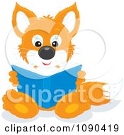 Clipart Cute Fox Sitting And Reading A Book Royalty Free Vector Illustration by Alex Bannykh