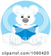 Clipart Cute Polar Bear Sitting And Reading A Book Royalty Free Vector Illustration by Alex Bannykh