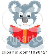 Clipart Cute Koala Sitting And Reading A Book Royalty Free Vector Illustration by Alex Bannykh