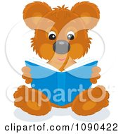 Clipart Cute Bear Sitting And Reading A Book Royalty Free Vector Illustration by Alex Bannykh