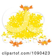 Clipart Three Crabs Playing By Yellow Coral Royalty Free Vector Illustration by Alex Bannykh