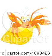 Clipart Cute Hermit Crab In A Yellow Shell Royalty Free Vector Illustration by Alex Bannykh