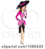 Clipart Fancy Woman Dressed In A Pink Jacket And Carrying A White Puppy Royalty Free Vector Illustration