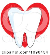 White Sparkly Molar Tooth Over A Red Heart