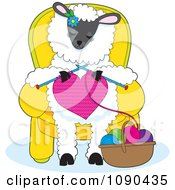 Clipart Cute Knitting A Heart And Sitting In A Chair Royalty Free Vector Illustration