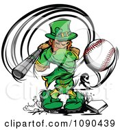 Baseball Leprechaun Mascot Batting