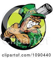 Clipart Baseball Leprechaun Mascot Holding A Bat Royalty Free Vector Illustration