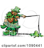 Clipart St Patricks Day Leprechaun Mascots With A Blank Sign Royalty Free Vector Illustration