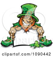 Clipart Leprechaun Mascot Sitting With A Blank Sign Royalty Free Vector Illustration by Chromaco