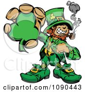 Clipart Leprechaun Mascot Smoking A Pipe And Holding A Clover Royalty Free Vector Illustration