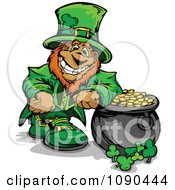 Leprechaun Mascot Leaning On His Pot Of Gold