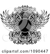 Clipart Blank Circle And Ornate Black And White Wings Royalty Free Vector Illustration