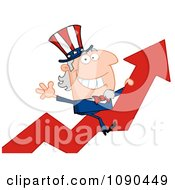 Clipart Uncle Sam Riding A Growth Arrow Royalty Free Vector Illustration by Hit Toon