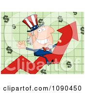 Clipart Waving Uncle Sam Riding A Growth Arrow Royalty Free Vector Illustration