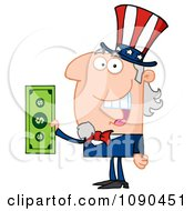 Clipart Uncle Sam Holding Tax Dollars Royalty Free Vector Illustration by Hit Toon