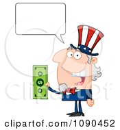Clipart Talking Uncle Sam Holding Tax Dollars Royalty Free Vector Illustration