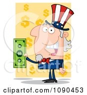 Clipart Uncle Sam Holding Cash Over Yellow Dollar Symbols Royalty Free Vector Illustration