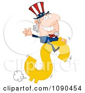 Clipart Uncle Sam Riding A Dollar Symbol Royalty Free Vector Illustration by Hit Toon