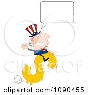 Clipart Talking Uncle Sam Riding A Dollar Symbol Royalty Free Vector Illustration