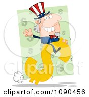Clipart Waving Uncle Sam Riding A Dollar Symbol Royalty Free Vector Illustration