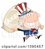 Clipart Waving Uncle Sam Carrying A Taxes Sack Royalty Free Vector Illustration