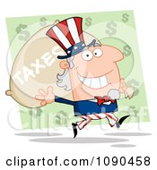 Clipart Uncle Sam Carrying A Taxes Bag Royalty Free Vector Illustration