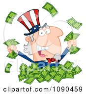Clipart Uncle Sam Playing In A Pile Of Cash Royalty Free Vector Illustration by Hit Toon