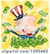 Clipart Rich Uncle Sam Playing In A Pile Of Money Royalty Free Vector Illustration