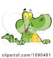 Clipart Friendly Alligator Smiling Over A Sign Board Royalty Free Vector Illustration